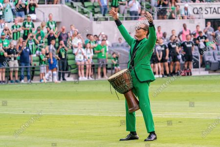 Matthew McConaughey performs before the start of the inaugural home game between the San Jose Earthquakes and Austin FC at Q2 Stadium on June 19, 2021 in Austin, Texas.