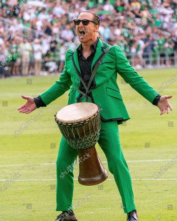 Stock Photo of Matthew McConaughey performs before the start of the inaugural home game between the San Jose Earthquakes and Austin FC at Q2 Stadium on June 19, 2021 in Austin, Texas.