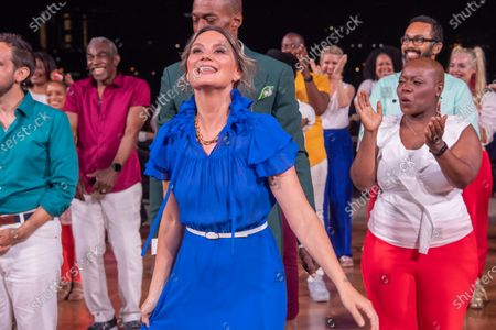 """Jennifer Nettles is seen during a curtain call for """"Broadway Our Way LIVE: On an Island in the River"""" at Little Island in New York City.  It was the first live performance with a full audience and the final concert of Artistic Director Michael McElroy of Broadway Inspirational Voices."""