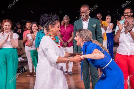 """Phylicia Rashad and Jennifer Nettles are seen during a curtain call for """"Broadway Our Way LIVE: On an Island in the River"""" at Little Island in New York City.  It was the first live performance with a full audience and the final concert of Artistic Director Michael McElroy of Broadway Inspirational Voices."""