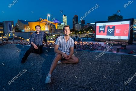 """Stock Photo of The directors and actors PJ McCabe and Jim Cummings at the Premiere of the film """"The Beta Test"""" on the occasion of the Berlinale Summer Special 2021 of the 71st Berlin International Film Festival in the open-air cinema ARTE Sommerkino Kulturforum."""