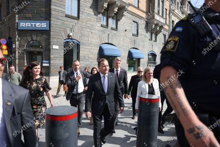 Stock Photo of Minister for Gender Equality and Housing Maerta Stenevi (L), Sweden's Prime Minister Stefan Lofven (C) and Minister for Finance Magdalena Andersson (R) arrives to the Swedsih Parliment for the distrust voting, in Stockholm, Sweden, 21 June 2021.