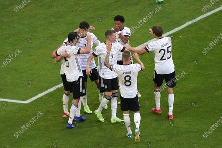 Stock Image of Robin Gosens, Kai Havertz, Mats Hummels Matthias Ginter, Serge Gnabry, Toni Kroos, Thomas Müller all Germany  cheer