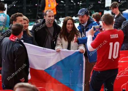 Petr Cech poses with Czech fans at the Czech Republic v England UEFA EURO 2020 Group D match at Wembley Stadium, London, UK, on June 22, 2020.