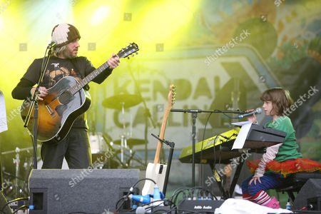 Badly Drawn Boy, aka Damon Gough, performing with his daughter