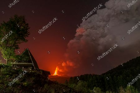 The church of Madonna delle Nevi (Our Lady of the Snows), is seen in the foreground as lava erupts from a crater of Mt. Etna, Europe's largest active volcano, in Ragalna, near Catania, in southern Italian island of Sicily, early . Since Feb. 16, 2021, Mt. Etna has begun a series of spectacular eruptive episodes