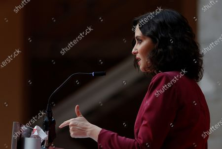 Madrid's regional President Isabel Diaz Ayuso delivers a speech during the regional Ministers' swear-in ceremony in Madrid, Spain, 21 June 2021. Ayuso won regional snap elections held 04 May 2021.