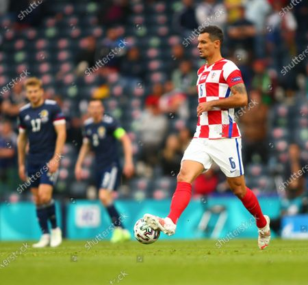 Dejan Lovren of Croatia on the ball; Hampden Park, Glasgow, Scotland; 2020 European Football Championships, Scotland versus Croatia.