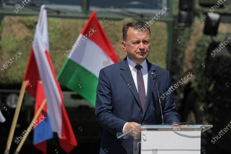 Polish Defence Minister Mariusz Blaszczak speaks at a press conference following the meeting of the heads of defense ministries of the Visegrad Group countries in Elblag, Poland, 21 June, 2021. At the meeting, the ministers will summarize the V4's cooperation during the Polish presidency of the Visegrad Group, which has been taking place since 30 June 2020.