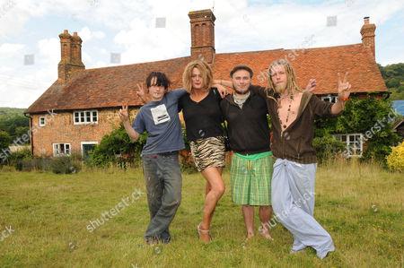 David Shayler (deloris Kane) Former Mi5 Spy Squatting At Hawkhurst Farm Abinger Hammer Surrey. ( AlsoWith Fellow Squatters Chris Owen Right Serg Matthews And Rabbit Left.