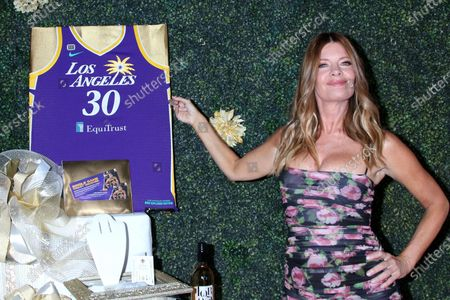 Michelle Stafford with LA Sparks Jersey