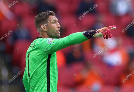 Goalkeeper Maarten Stekelenburg of the Netherlands reacts during the UEFA EURO 2020 preliminary round group C soccer match between North Macedonia and the Netherlands in Amsterdam, Netherlands, 21 June 2021.