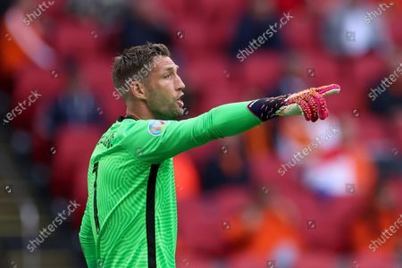 Netherlands' goalkeeper Maarten Stekelenburg gestures during the Euro 2020 soccer championship group F match between North Macedonia and Netherlands, at the Johan Cruyff ArenA in Amsterdam, Netherlands