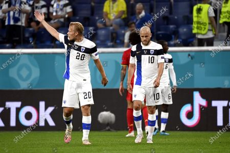 Joel Pohjanpalo and Teemu Pukki of Team Finland enter the field for second half during the UEFA Euro 2020 football tournament group B match Finland vs Belgium at Saint Petersburg stadium in Saint Petersburg, Russia on June 21, 2021.