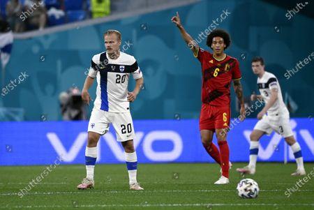 Joel Pohjanpalo (L) of Team Finland vies with Axel Witsel of Belgium during the UEFA Euro 2020 football tournament group B match Finland vs Belgium at Saint Petersburg stadium in Saint Petersburg, Russia on June 21, 2021.