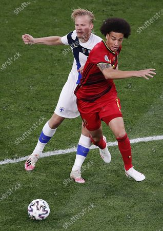 Axel Witsel (R) of Belgium in action against Joel Pohjanpalo of Finland during the UEFA EURO 2020 group B preliminary round soccer match between Finland and Belgium in St.Petersburg, Russia, 21 June 2021.