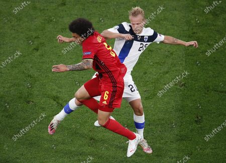 Axel Witsel (L) of Belgium in action against Joel Pohjanpalo of Finland during the UEFA EURO 2020 group B preliminary round soccer match between Finland and Belgium in St.Petersburg, Russia, 21 June 2021.