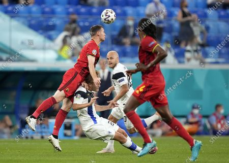 Joel Pohjanpalo (2-L) of Finland in action against Thomas Vermaelen (L) of Belgium  during the UEFA EURO 2020 group B preliminary round soccer match between Finland and Belgium in St.Petersburg, Russia, 21 June 2021.