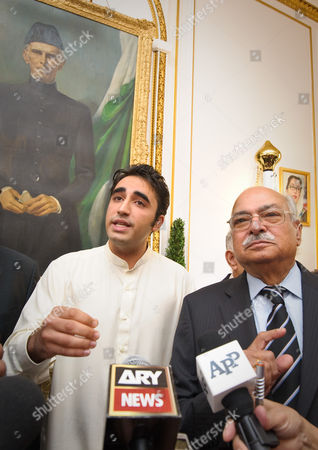 Bilawal Zardari Bhutto with the Pakistan High Commissioner Wajid Shamsul Hasan in front of a portrait of Mohammed Ali Jinnah, Founder of Pakistan.
