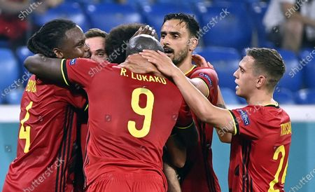 Belgium's Dedryck Boyata, Belgium's Thomas Vermaelen, Belgium's Romelu Lukaku, Belgium's Nacer Chadli and Belgium's Leandro Trossard celbrate after the 1-0 goal at a soccer game between Finland and Belgium's Red Devils, the third game in the group stage (group B) of the 2020 UEFA European Football Championship, on Monday 21 June 2021 in Saint Petersburg, Russia.