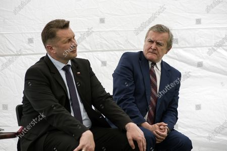 Ministers, Przemyslaw Czarnek and Piotr Glinski are seen during the press conference. Press conference on the adopted national Reading Development Program with the Deputy Prime Minister and Minister of Culture, National Heritage and Sport, Piotr Glinski, and Minister of Education and Science, Przemyslaw Czarnek in attendance.
