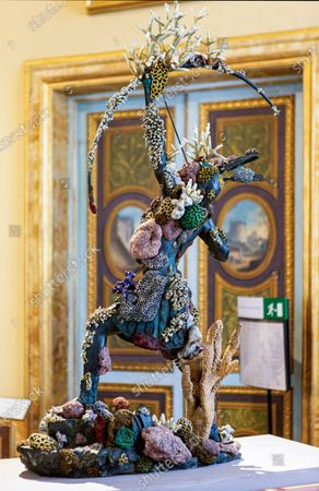 """Statue by Damien Hirst of the """"Female Archer"""" on display at the Archeology Now Exhibition at the Borghese Gallery in Rome. The exhibition features over 80 pieces from Hirst's """"Treasures from the Wreck of the Unbelievable"""" which are exhibited alongside the Galleries collection of classical antiquities and 15th to 19th Century masterpieces including works by Titian, Caravaggio, Gian Lorenzo Bernini and Canova."""