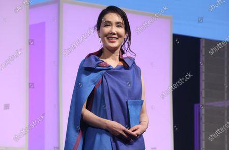 Japanese actress Mariko Tsutsui attends the awarding ceremony of the Short Shorts Film Festival & Asia 2021 in Tokyo on Monday, June 21, 2021.