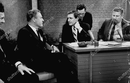 (L to R) Actor Marty Allen, Gov. Nelson A. Rockefeller, Merv Griffin and Actor Peter Ustinov enjoying an entertaining conversation during the taping of the Merv Griffin Show.