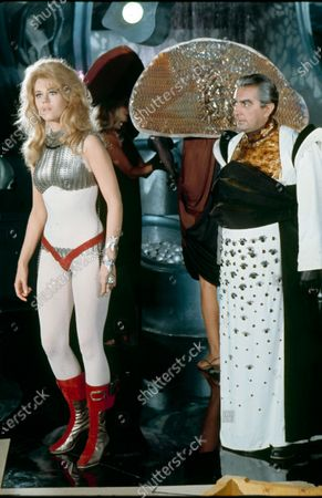 Jane Fonda and Milo O'Shea (as Durand-Durand) on the set of Barbarella.