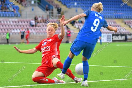 Stock Image of Nilla Fischer (5 Linkoping) blocks Kaisa Collin (9 Eskilstuna) in the game in the Swedish League OBOS Damallsvenskan on June 21 2021 between Eskilstuna and Linkoping at Tunavallen in Eskilstuna, Sweden