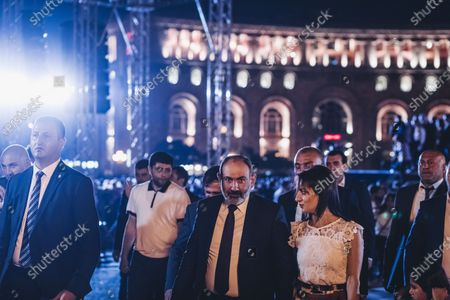 Nikol Pashinyan with his wife after the victory celebration in the Armenian parliamentary elections in Yerevan's Republic Square.
