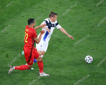 Nacer Chadli (22) of Belgium and Robin Lod (8) of Finland are seen in action during the European championship EURO 2020 between Belgium and Finland at Gazprom Arena. (Final Score; Finland 0:2 Belgium).
