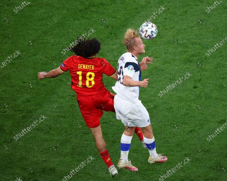 Jason Denayer (18) of Belgium and Joel Pohjanpalo (20) of Finland are seen in action during the European championship EURO 2020 between Belgium and Finland at Gazprom Arena. (Final Score; Finland 0:2 Belgium).