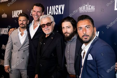 Actors David Cade, David James Elliott, Harvey Keitel, actor John Marago and Danny A. Abeckaser pose on the red carpet prior to the premiere of Lansky at the Harmony Gold Theater in Los Angeles, California, USA, 21 June 2021. The movie is set to be released on 25 June 2021.