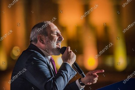 Nikol Pashinyan, main candidate for the Civil Contract party,  gives a speech in a rally in the Republic Square  of Yerevan after winning the parliamentary elections in Armenia.