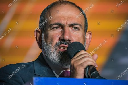 Nikol Pashinyan, main candidate for the Civil Contract party and Prime Minister of Armenia,  gives a speech to his audience in a rally in Yerevan after winning the parliamentary elections in Armenia.