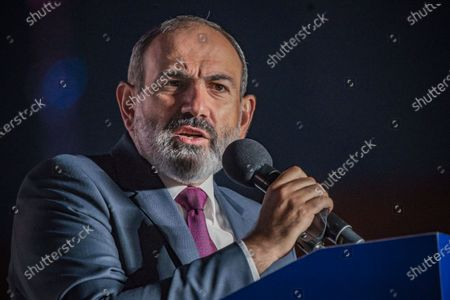 Nikol Pashinyan, main candidate for the Civil Contract party and Prime Minister of Armenia,  gives a speech to his supporters in a rally in the center of Yerevan after winning the parliamentary elections in Armenia.