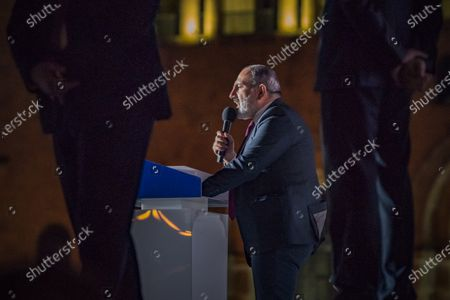 Nikol Pashinyan, main candidate for the Civil Contract party and Prime Minister of Armenia,  gives a speech in the Republic Square of Yerevan after winning the parliamentary elections in Armenia.