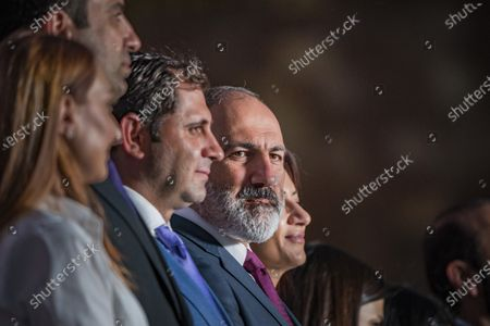 Nikol Pashinyan, main candidate for the Civil Contract party and Prime Minister of Armenia,  waits his turn to give a speech to his supporters in a rally in Yerevan after winning the parliamentary elections in Armenia.