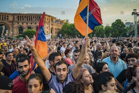 Supporters of Nikol Pashinyan in the Republic Square in Yerevan celebrating the victory of the Civil Contract party, with Nikol Pashinyan as main candidate for the parliamentary elections in Armenia.