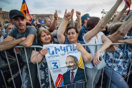 Supporters of Nikol Pashinyan attend a rally of Civil Contract party in the Republic Square of Yerevan with Nikol Pashinyan as main candidate for the parliamentary elections in Armenia.