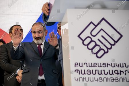 Nikol Pashinyan, main candidate for the Civil Contract party,  salutes to the audience in a rally after winning the parliamentary elections in Armenia.