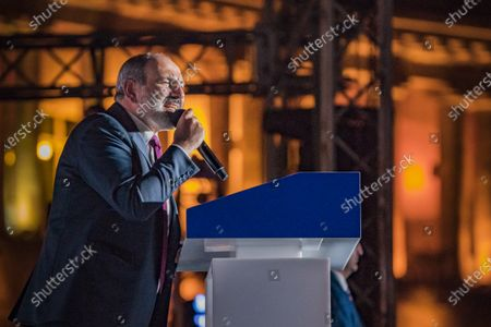 Nikol Pashinyan, main candidate for the Civil Contract party,  gives a speech during a  rally after winning the parliamentary elections in Armenia.