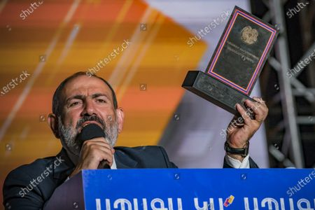 Nikol Pashinyan, main candidate for the Civil Contract party and Prime Minister of Armenia, gives a speech after receiving a trophy for his second  term in the government in a rally in Yerevan after his victory in the parliamentary elections in Armenia.