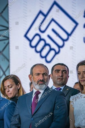 Nikol Pashinyan, main candidate for the Civil Contract party,  in a  rally after winning the parliamentary elections in Armenia.
