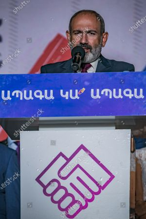 Nikol Pashinyan, main candidate for the Civil Contract party,  gives a speech during a  rally in the center of Yerevan after winning the parliamentary elections in Armenia.