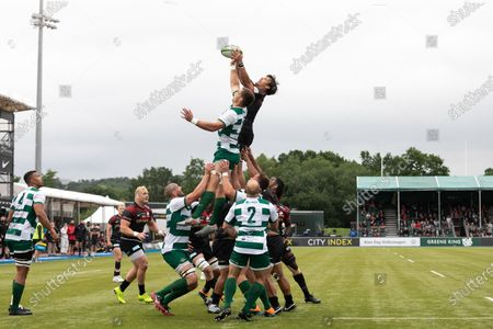 Stock Photo of : Michael Rhodes of Saracens compete for the ball in the line out with Rayn Smid of Ealing Trailfinders during the Greene King IPA Championship match between Saracens and Ealing Trailfinders at StoneX Stadium, London on Sunday 20th June 2021.