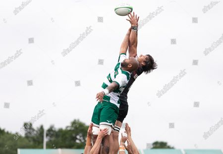 : Michael Rhodes of Saracens compete for the ball in the line out with Marlon Al-Jiboori of Ealing Trailfinders during the Greene King IPA Championship match between Saracens and Ealing Trailfinders at StoneX Stadium, London on Sunday 20th June 2021.