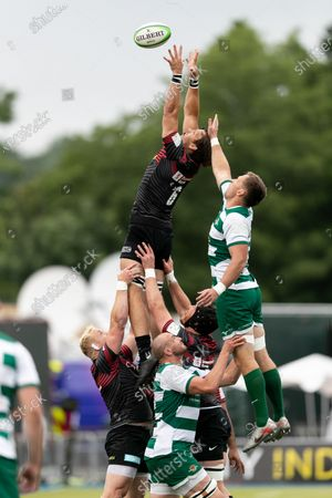 : Michael Rhodes of Saracens wins the ball in the line out during the Greene King IPA Championship match between Saracens and Ealing Trailfinders at StoneX Stadium, London on Sunday 20th June 2021.