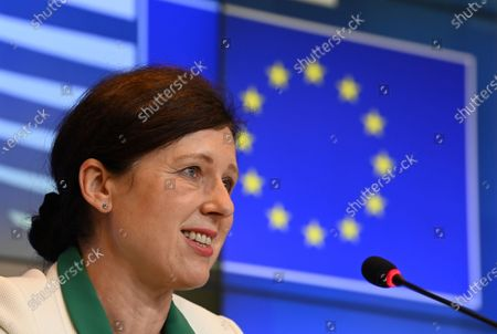 European Commission vice-president in charge for Values and Transparency Vera Jourova gives a press conference during a General Affairs Council in Luxembourg, 22 June 2021.